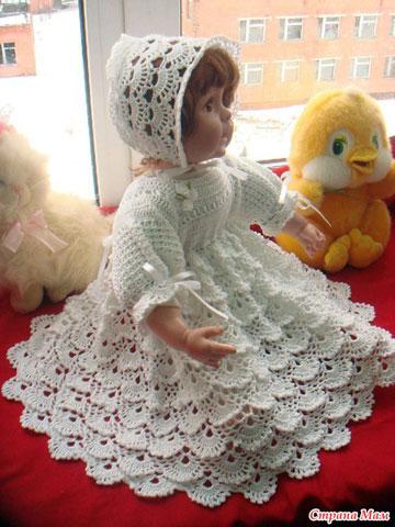 """Крестильное платье  """"Забава """".  Схема вязания крючком.  Крестильный комплект для девочки  """"Облачко """"."""