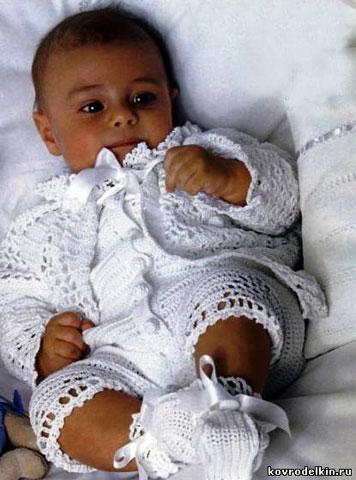 """Схемы и описание вязание крючком крестильного комплекта для мальчика  """"Гномик """" ."""